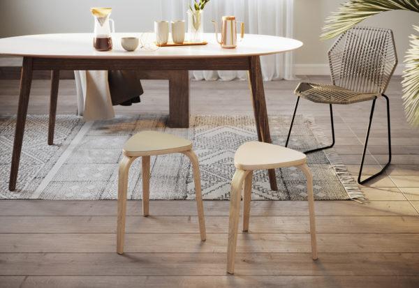 Linosa zelfklevend linoleum voor houten Ikea Kyrre kruk
